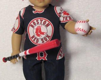 18 Inch Boy Doll Red Sox Baseball Outfits Fits American Boy Doll