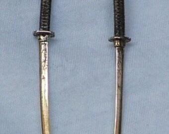 DRAGON KATANA EARRINGS Sterling Silver-Japanese Swords-Made to Order