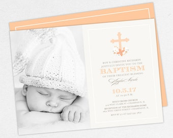 Photo Baptism Invitation, Christening Invitation, Girl Baptism, Printable Baptism Invitation, PDF, Floral, Watercolor Flower, Peach, Kayla