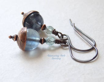 Aquamarine Blue Gemstone Earrings, Fluorite and Apatite with Etched Copper, Unusual Dangle, Artisan Copper Jewelry, Unique Gift
