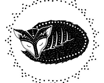 Fox Sleeps 5x5 Print