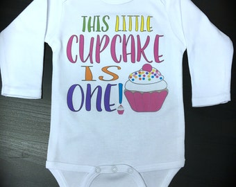 This Little Cupcake is ONE! one piece funny cute novelty birthday shirt cupcake birthday
