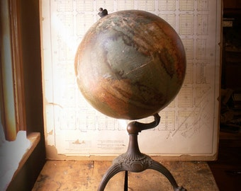 Reserved for Leslie - Vintage Terrestrial Table Globe on Tripod Stand from W. and A.K. Johnston Limited, Edinburgh