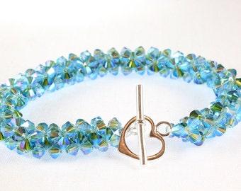 Swarovski Crystal Woven Bracelet, Turquoise and Fern Green Kismet, Aquamarine Crystal Bracelet, Fern Green Crystal Bracelet