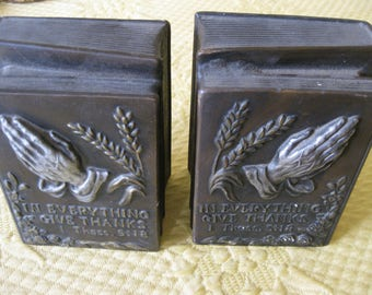 Vintage Religious Bookends In Everything Give Thanks 1 Thessalonians 5:18