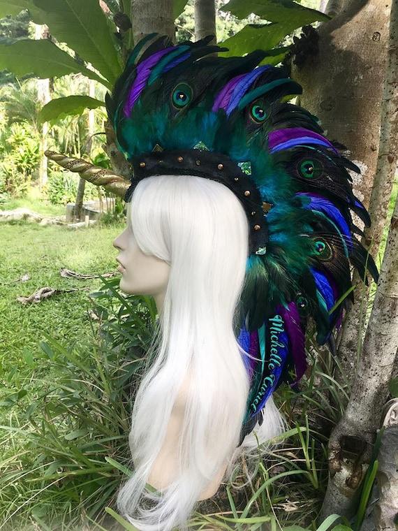"Made to order: Unicorn Feather Mohawk Headdress  - ""Malani"""