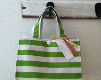 Beth's Green Stripes Oilcloth Lunch Box