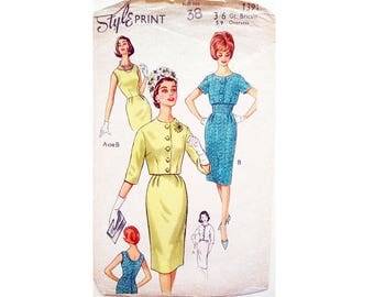 "Vintage 50's 60's Style Print 1391 Fitted Sleeveless Dress and Crop Jacket Suit Sewing Pattern Size Bust 38"" UK 16"