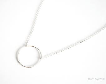 Silver ring necklace, minimalist circle necklace, geometric circle pendant, graphic necklace, sterling silver circle choker