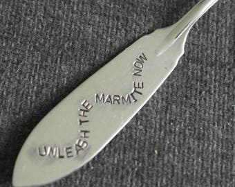 hand stamped cutlery knife unleash the marmite now
