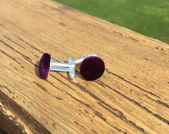 Purple Velvet Fabric Button Cufflinks, mens accessories, swag, dapper, hipster, husband, brother, son, father, gifts, trendy, fashion, love