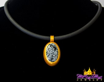 African Snowflake Obsidian Golden Oval Pendant Necklace