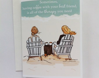 Best Friends Card - Coffee Card - Cards for Friends - Friends and Coffee Card - Miss You Card - Card for Sisters