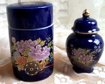 TWO VINTAGE COBALT BLUE CONTAINERS WITH LIDS - Novelty Jars - Japanese - Pictorial