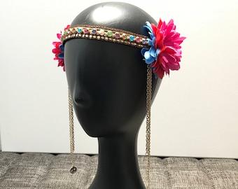 Floral Festival Regenbogen Stirnband
