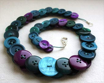 Peacock - Purple, Teal and Blue-Green button necklace Button Necklace Button Jewellery Button Jewelry UK Handmade Free UK Shipping