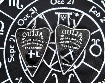 Ouija Planchette Earrings with glitter, multiple colors, you choose!