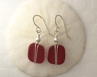 Sterling Silver and Red Sea Glass Earrings, wire wrapped