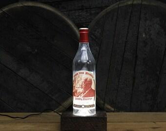 Pappy Van Winkle (20 Year) Bourbon Bottle Light / Reclaimed Wood Base / LED Desk Lamp / Handmade Lighting / Upcycled Bourbon Bottle Lamp