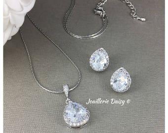 Bridal Jewelry Set Bridesmaid Gift Set Cubic Zirconia Jewelry Bridesmaid Jewelry Crystal Necklace CZ Necklace Bridal Jewelry Bridesmaid Gift