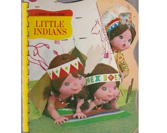 Tadasu Izawa childrens board book Little Indians, A Puppet Shape Book, adorable retro Native American doll illustrations, Japanese puppets