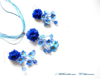 Blue necklace and earring set Blue flower necklace Something blue for bride Polymer clay earrings Polymer clay pendant Bridesmaid gift ideas