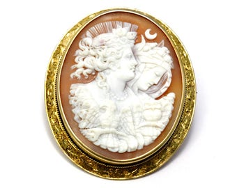 Victorian large gold filled frame Eos Nyx Day and Night goddesses carved shell cameo brooch pin