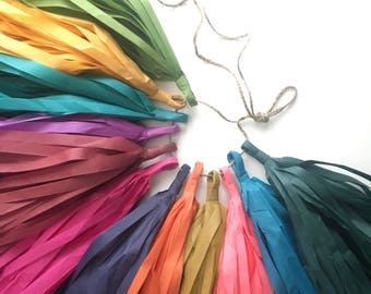 JEWEL TONES paper tassel garland fall autumn wedding aisle marker decorations neutral nursery dia muertos coco photo prop pantone inspired