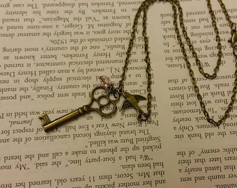 Skeleton Key Necklace with Swallow Charm and Your Choice of Swarovski Crystal Accent