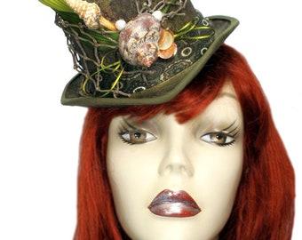 Ariel Mini Top Hat Nautical Mermaid Fascinator Victorian Steampunk Party Cocktail Green