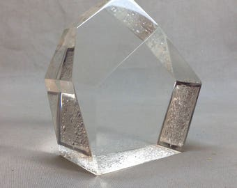 Vintage Lucite Paperweight  Space-Age Modern