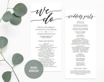Wedding Program Printable, Wedding Program Template, We Do program template, DIY wedding program, Instant Download Editable PDF, WLP520