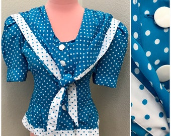 Blue and white polka dot sailor style blouse size XL