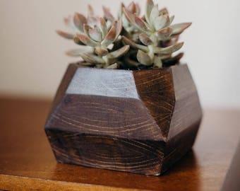 "Handmade Wood Succulent Planters 4"" Hole -  Modern Succulent Pots  -  Geometric Wood Planters"