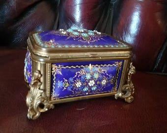 Tahan Kiln Fired Enamel Jeweled Casket Box