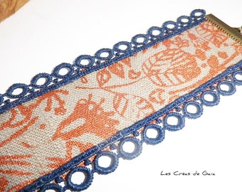 Copper flower cuff jewelry • • screen printed linen, lace and beads • hippie chic Bracelet