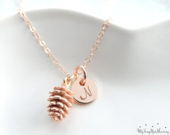 Rose Gold Pinecone Necklace Pinecone Pendant Pine Cone Necklace Pinecone Jewelry Initial necklace rose gold filled Necklace