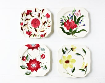 Set of 4 Blue Ridge Plates | Tea Party Plates, Small Plates, Wall Plates, Blue Ridge Salad Plates, Square Plates, Floral Plates