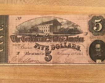 Five Dollar Civil War Confederacy Bill 1864