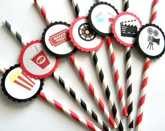 12 Movie Party Straws, Movie Theme, Movie Birthday, First Birthday, Watch Party, Popcorn, Movie Time, Pop Theme, Baby Shower, Stripe Straws