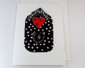 Romance fabric hearts black white dots ornate topper