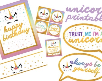 Unicorn Party Printables in Pastels and Gold