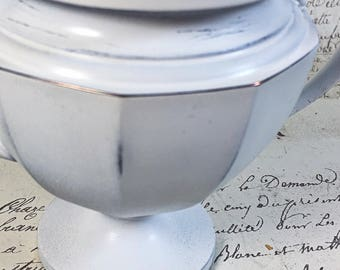 Vintage upcycled Universal sugar bowl chippy white display piece cottage English