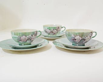 Asian Cups and Saucers, Teal Blue Tea Cup Set, Vintage Lusterware, Japanese Tea Set, Hand Painted Tea Cups Saucers, Teal Blue Cups