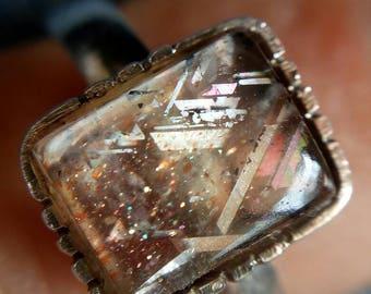 Rainbow Lattice Sunstone Silver Ring