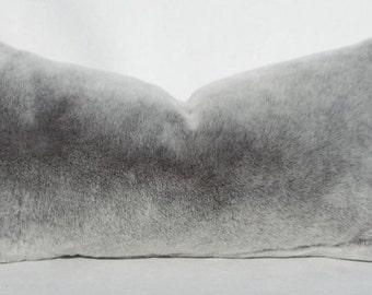 Fur pillow, Oblong, Lumbar throw, Rectangular cushion Grey fur,Handmade