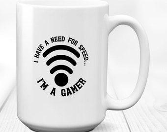 Gamer mug,video game mug,gaming mug,gamer gift,coffee mug,gamer gifts,nerd mug,geek mug,gamer,funny gamer mug,Need For Speed Im Gamer, 15 oz