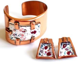 Matisse Set, Vintage MATISSE Enamel Copper Modernist Geometric Cuff Bracelet Clip Earrings Set, Mid Century Modern, Vintage Copper Jewelry