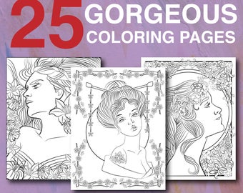 25 Gorgeous Women Coloring Pages - Instant Download Printable Adult Coloring Book for Adults with Women of the World Florals Mandalas
