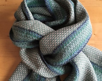 Sophisticated silk and linen scarf in soft green and cream
